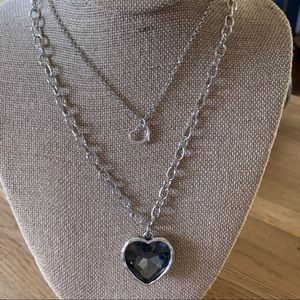 Silver Gray Heart Double Necklace Set BN